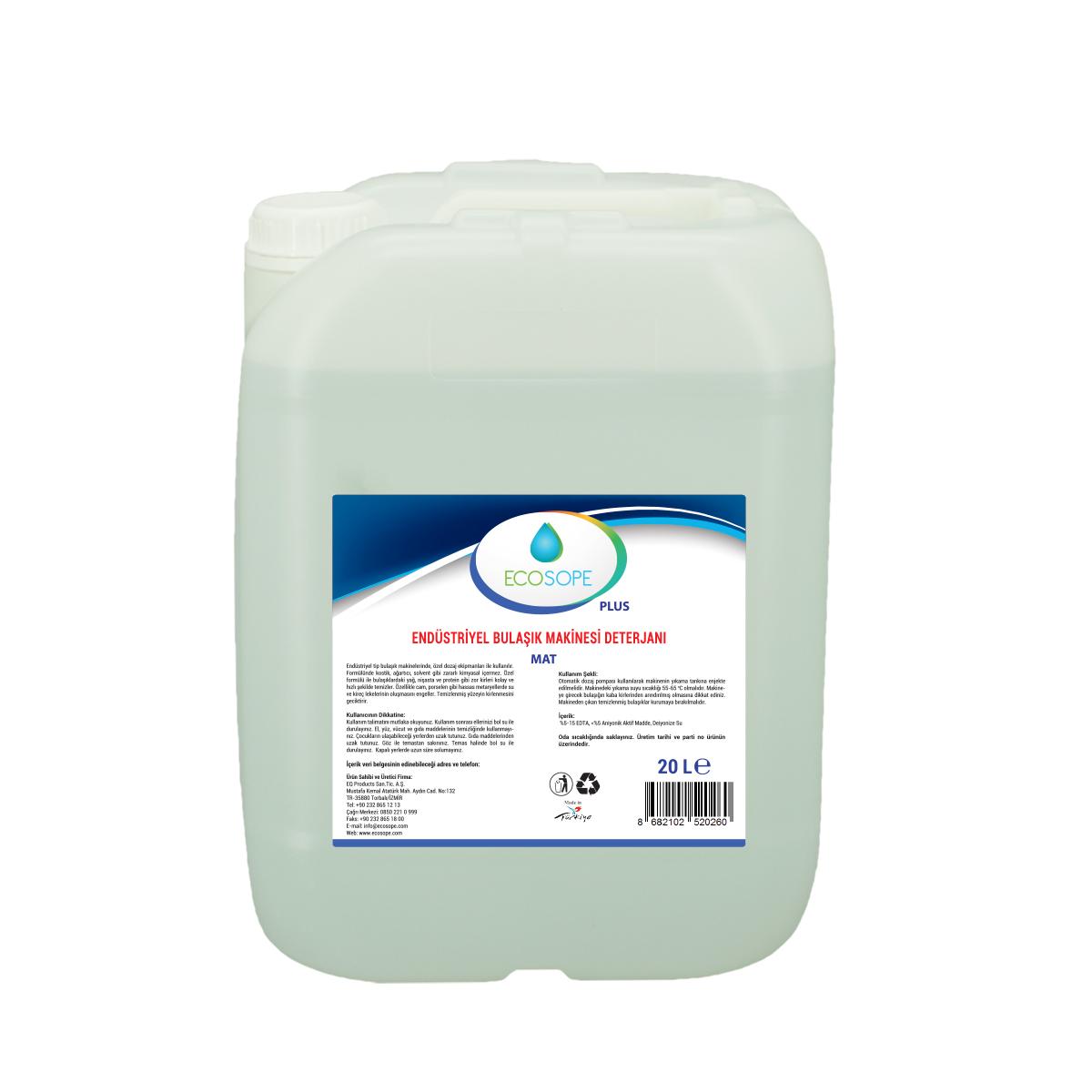 Ecosope Plus Endüstriyel Bulaşık Makinesi Deterjanı Mat